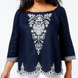 NEW CHARTER CLUB PLUS SIZE 1X EMBROIDERED TOP